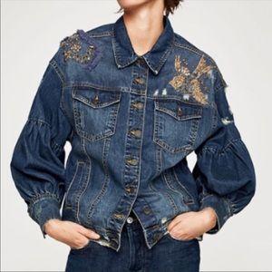 New Zara Embellished Jean Jacket. Size M-L